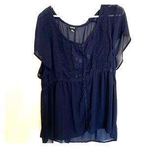 TORRID navy blue embroidered chiffon top. 3X